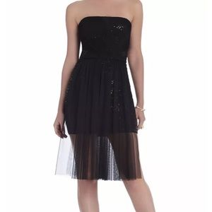 ❤️ BCBG ❤️ DRESS STRAPLESS SEQUIN SHEER OVERLAY
